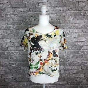 Zara Collection Cropped Butterfly Tee 🦋